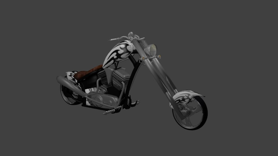 3ds white chopper motorcycle tribal
