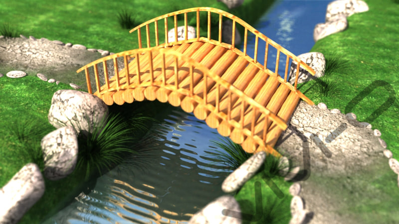 bridge river 3d max