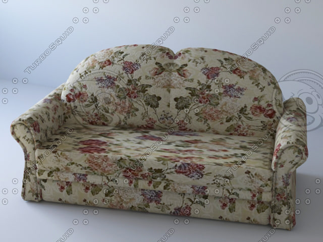 fabric sofa floral 3d model