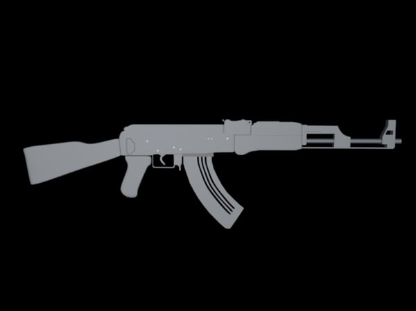 3ds max ak-47 modeled