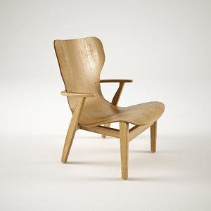 3d model artek domus lounge chair