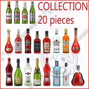 3d model bottles spirits