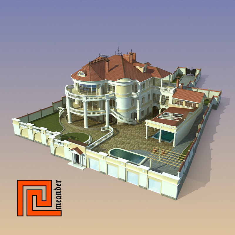 3ds max house classical modeled