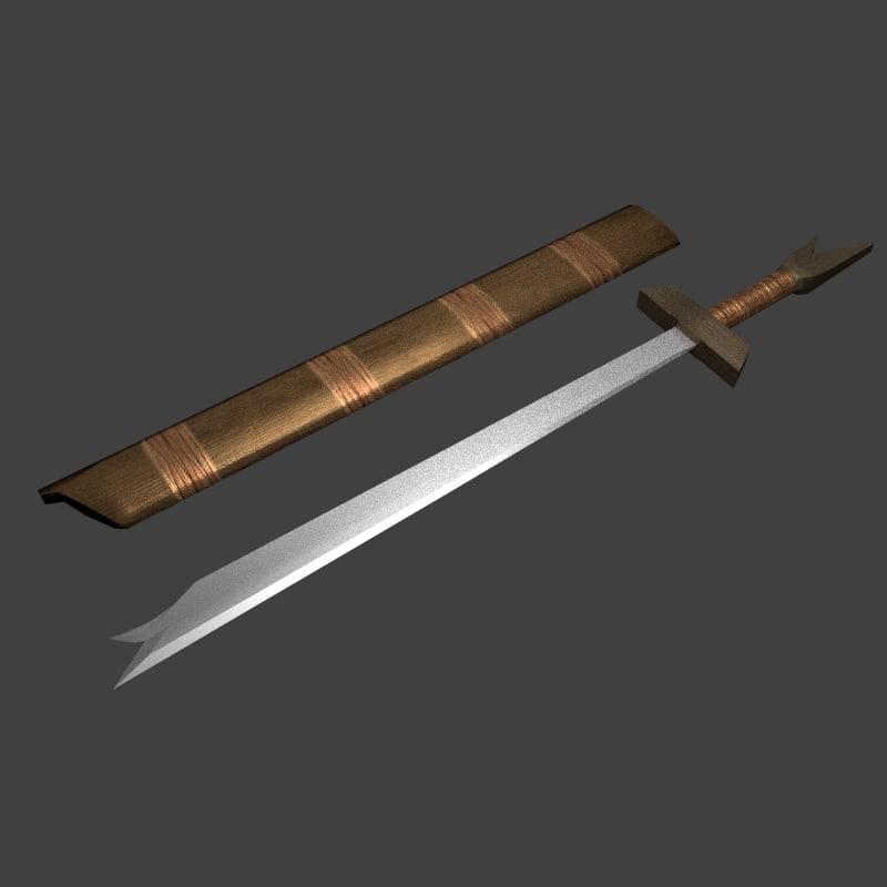 3d hilt swords warriors