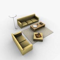 3d model living room furniture