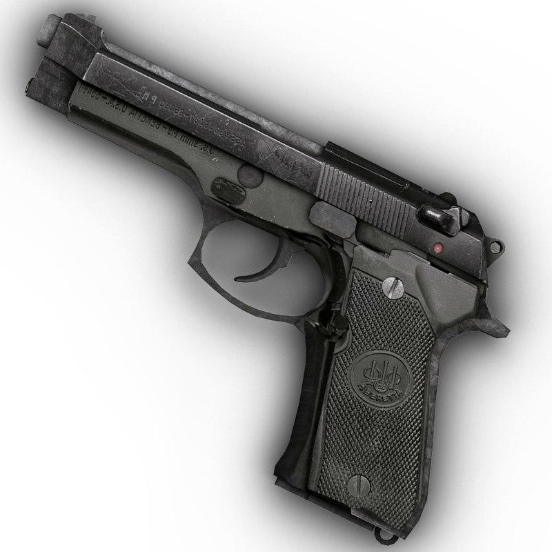 3d model of m9 beretta handgun silencer