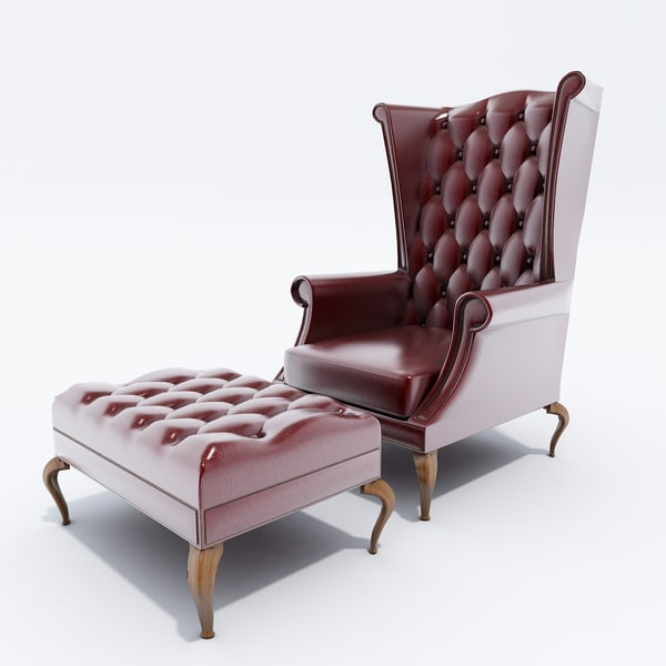 3d model queen ann wingback chair