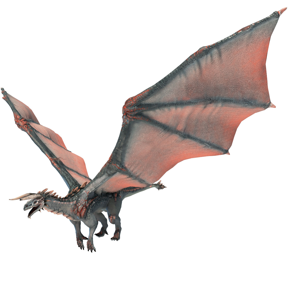Flying Dragon: Realistic Volcano Dragon Pose 3d Model