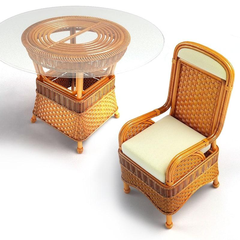 set wicker coffee table 3d model