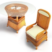 set wicker coffee table 3d model
