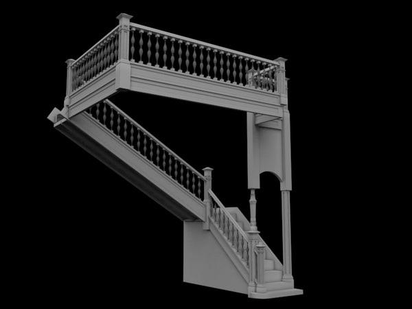 3d model victorian banister