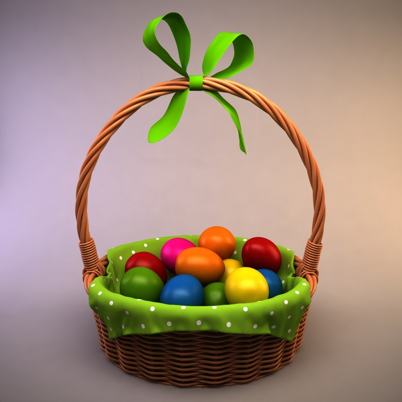 3d easter basket eggs model