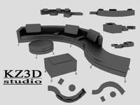 long black sofa furniture 3d model