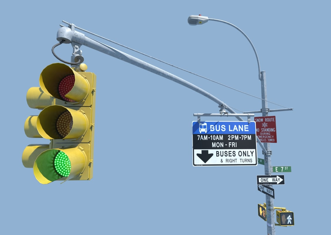 3d nyc traffic light signal