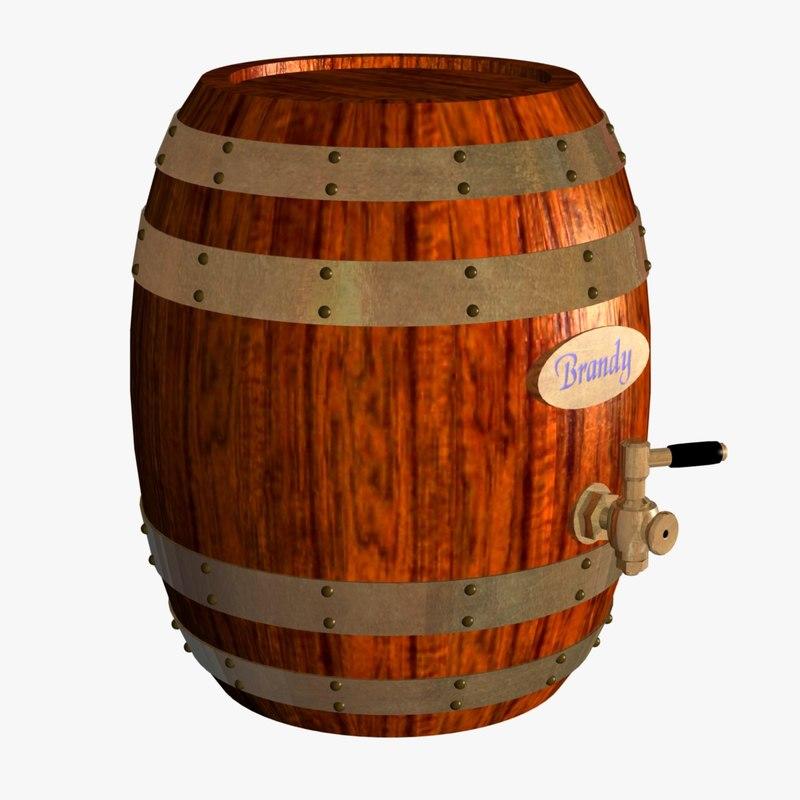 3d model brandy barrel