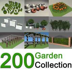 3d 200 garden design shrubs model