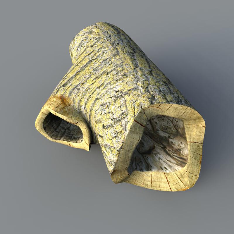 medium hollow log 3d max