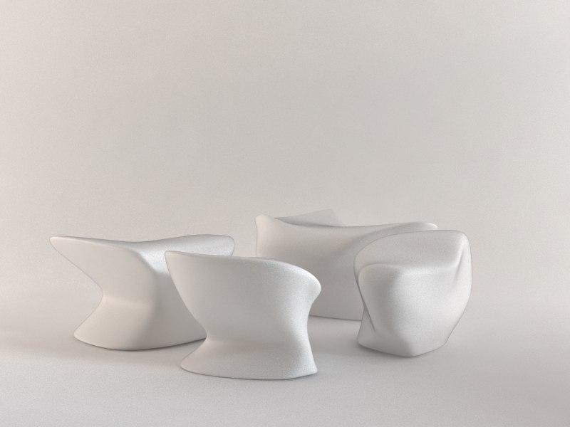 3d nekton stools sculptural