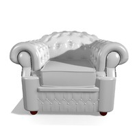 oxford 1 seater leather chair 3d model