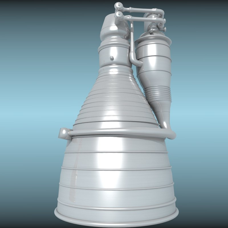 3d model rocket exhaust engine