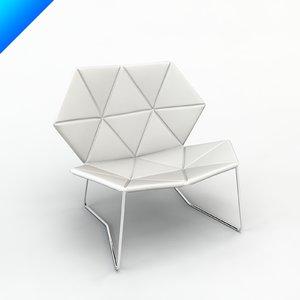 3d model tecnobodi lounge chair patricia