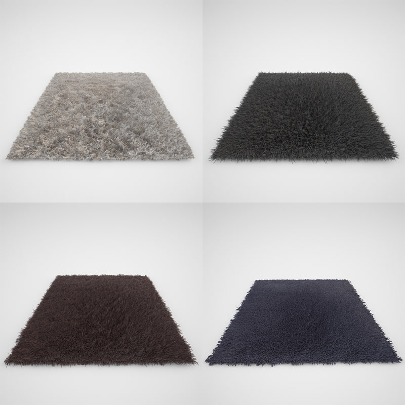 3d model carpet set rug fur