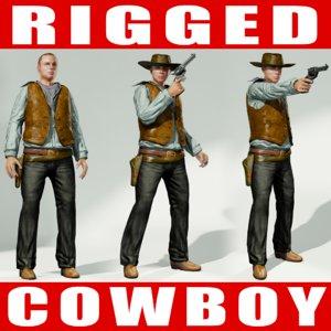 3d rigged cowboy model