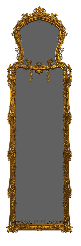 3d model of baroque luxury mirror
