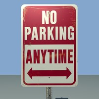 No Parking Sign - Low Poly