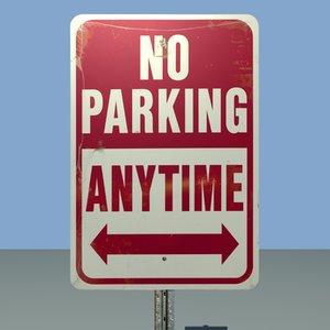 parking street sign 3d model