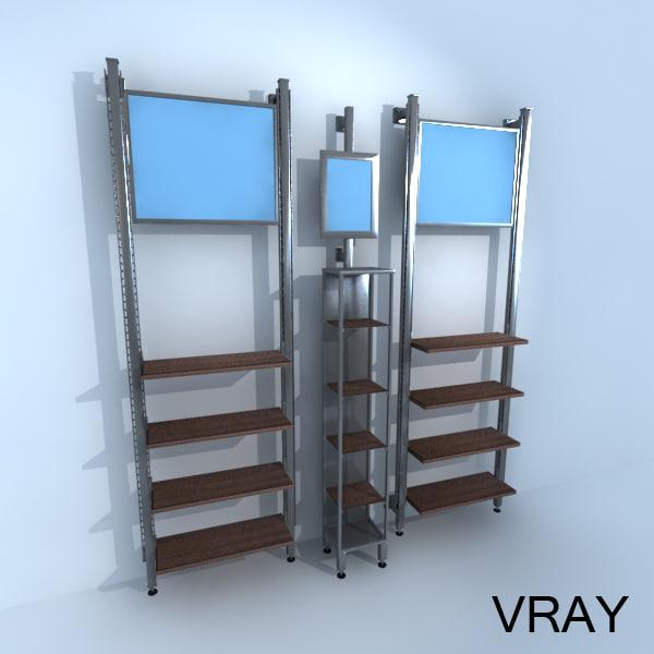 3d vertical retail racks