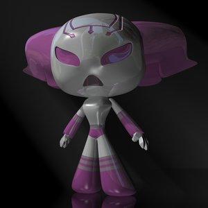 robot girl female cartoon 3d max