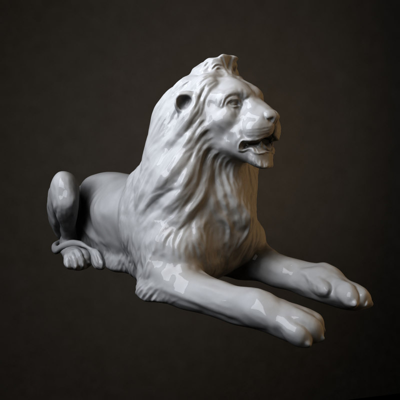 3d stone lion sculpture 1 model