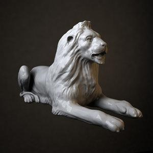 3d stone lion sculpture 1 model