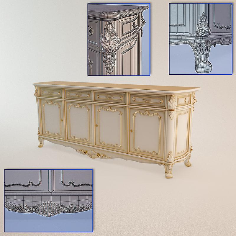 baroque dresser angelo cappellini 3d 3ds