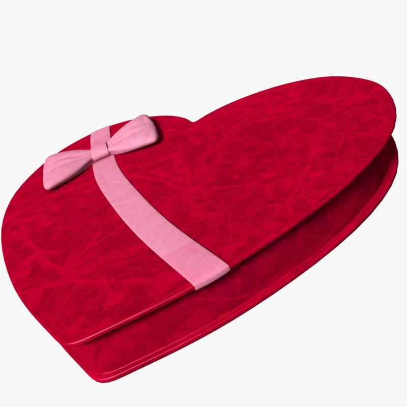3d obj candy heart box