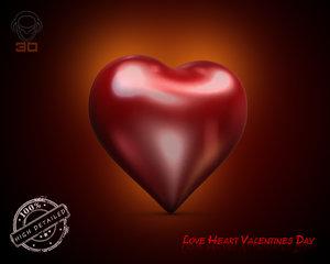 3d model love heart