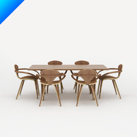 Norman Cherner Table and Arm Chair