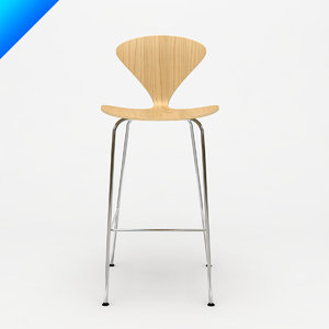 cherner metal leg stool design 3d model