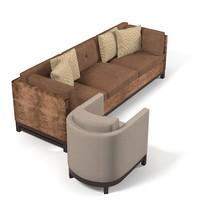3d model contemporray lobby sofa
