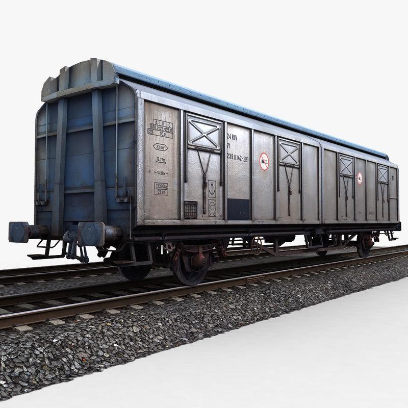 goods wagon railway tracks 3d model