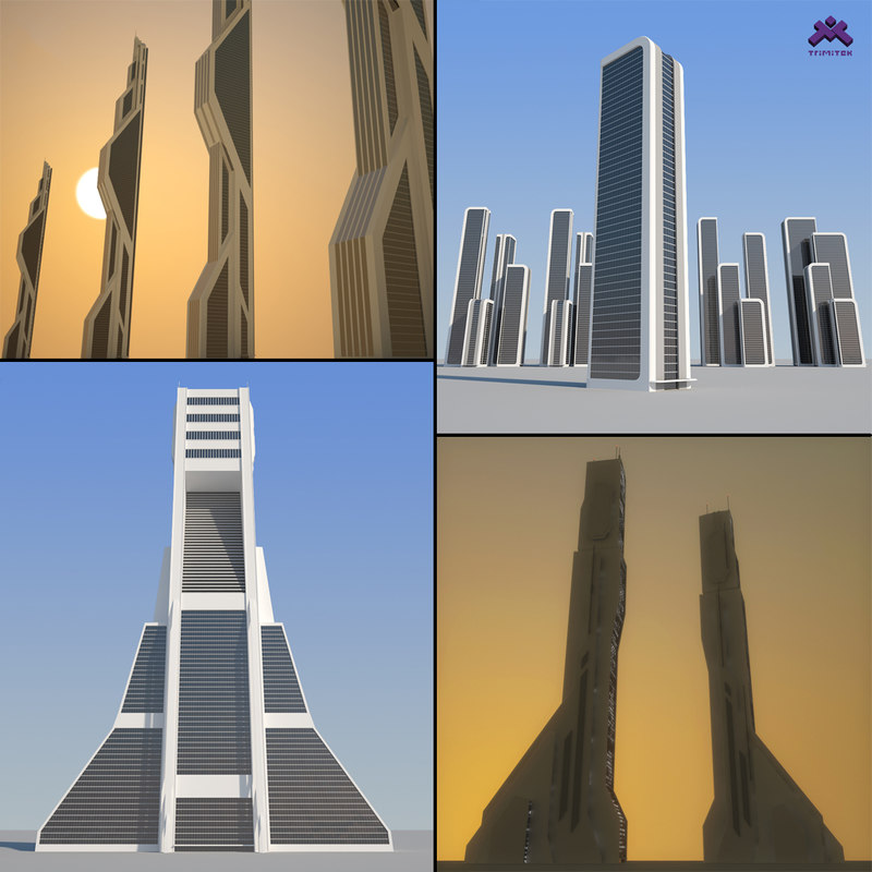 max futuristic sci-fi skyscrapers buildings