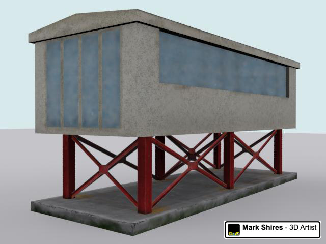 viewing platform portacabin building race 3d model