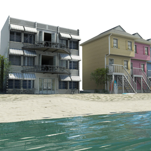 3d model beach houses resorts