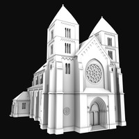 church neo-romanesque 3d model