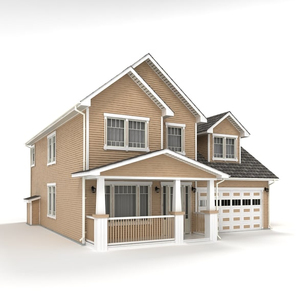 two-story cottage 3d model