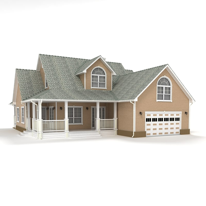 3d Model Two Story Cottage