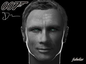 daniel craig head 3d model