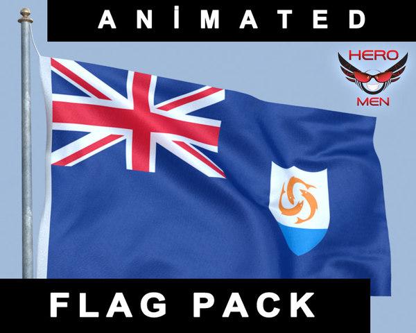 3d flag anguilla model