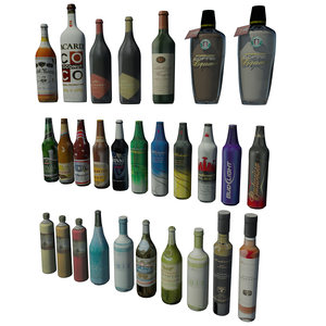 3d model bottles bar architectural